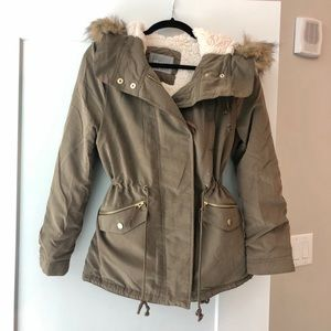Olive Green Jacket, fur lined with hood
